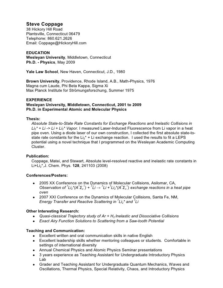 Steve Coppage Resume