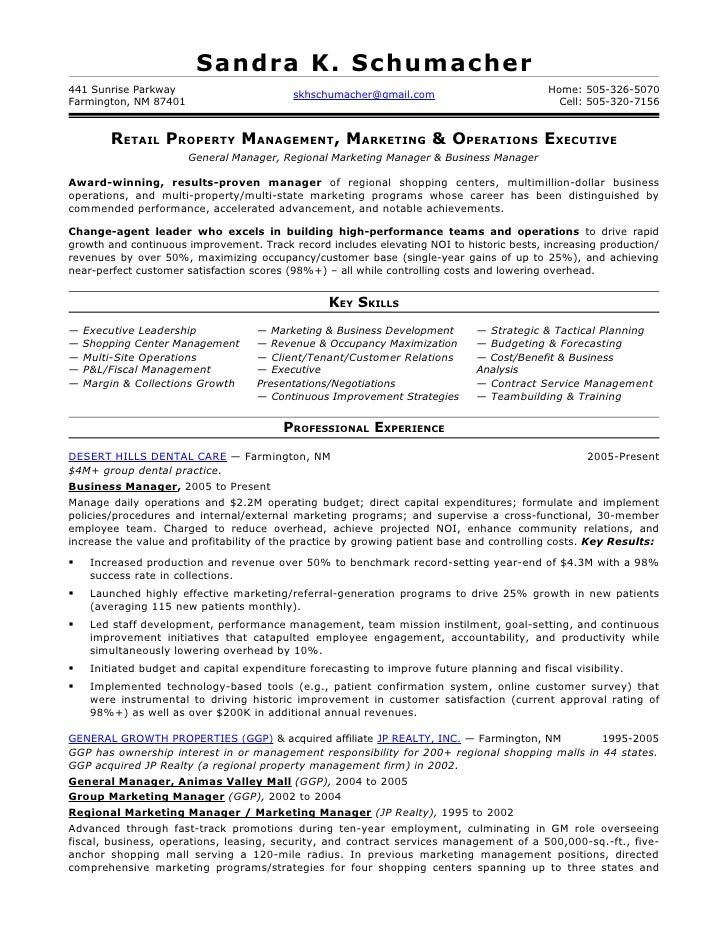 Property Leasing Manager Resume 1