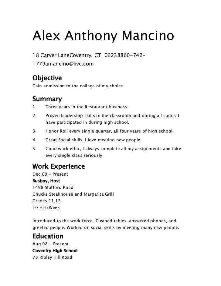 Alex Anthony Mancino18 Carver LaneCoventry, CT 06238860-742-1779amancino@live.comObjectiveGain admission to the college...