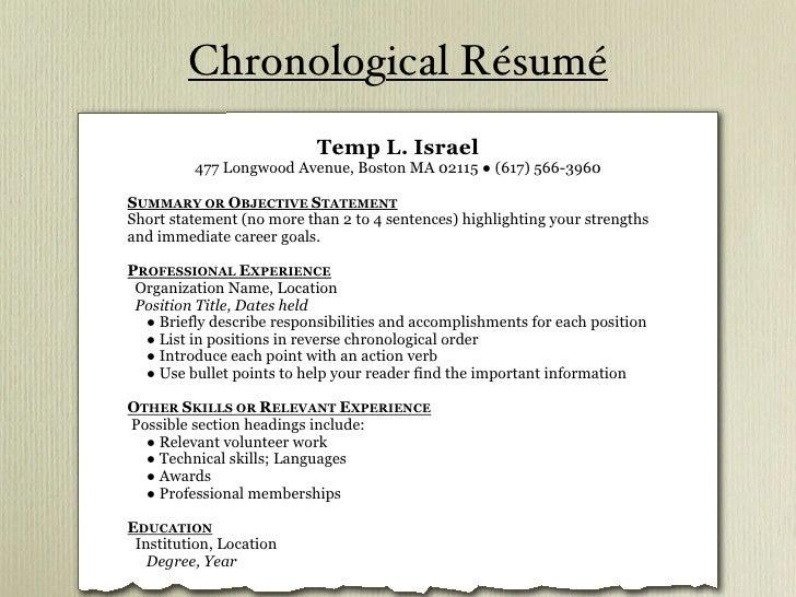 ... 5. Chronological Résumé ...  Resume 101