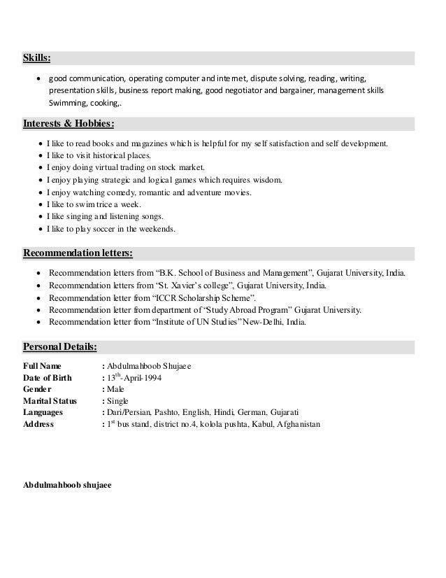 Resume Sample For Freshers.