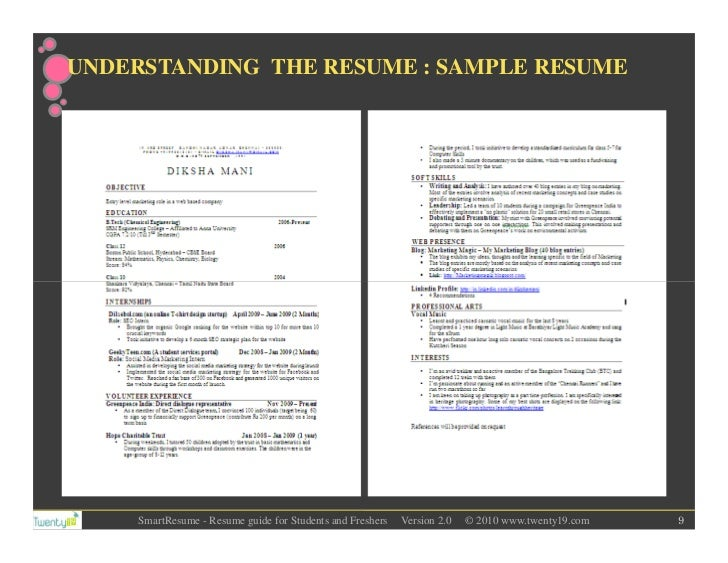 Understanding the resume sample resume smartresume resume guide for