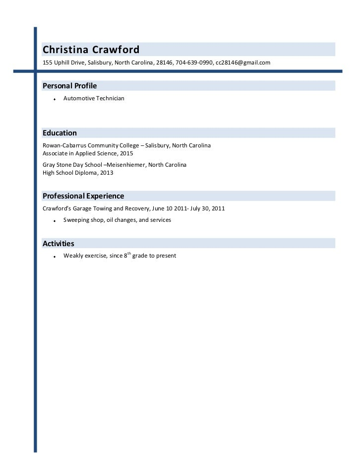 out of college resume