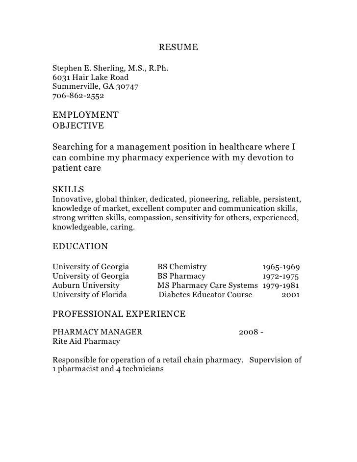 resumestephen e sherling ms - Retail Pharmacist Resume
