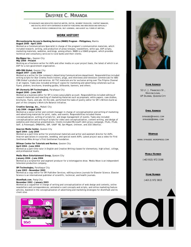 DAISYREE C. MIRANDA              A PASSIONATE AND DEDICATED CREATIVE WRITER, EDITOR, SEGMENT PRODUCER, CONTENT MANAGER,   ...