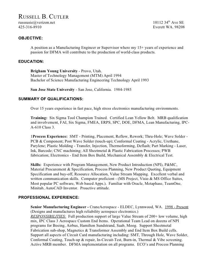 mechanical production engineer resume