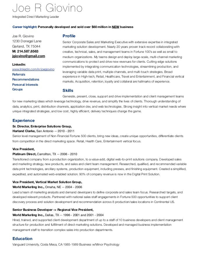 Joe Giovino Resume  Integrated MultiChannel Marketing Professional