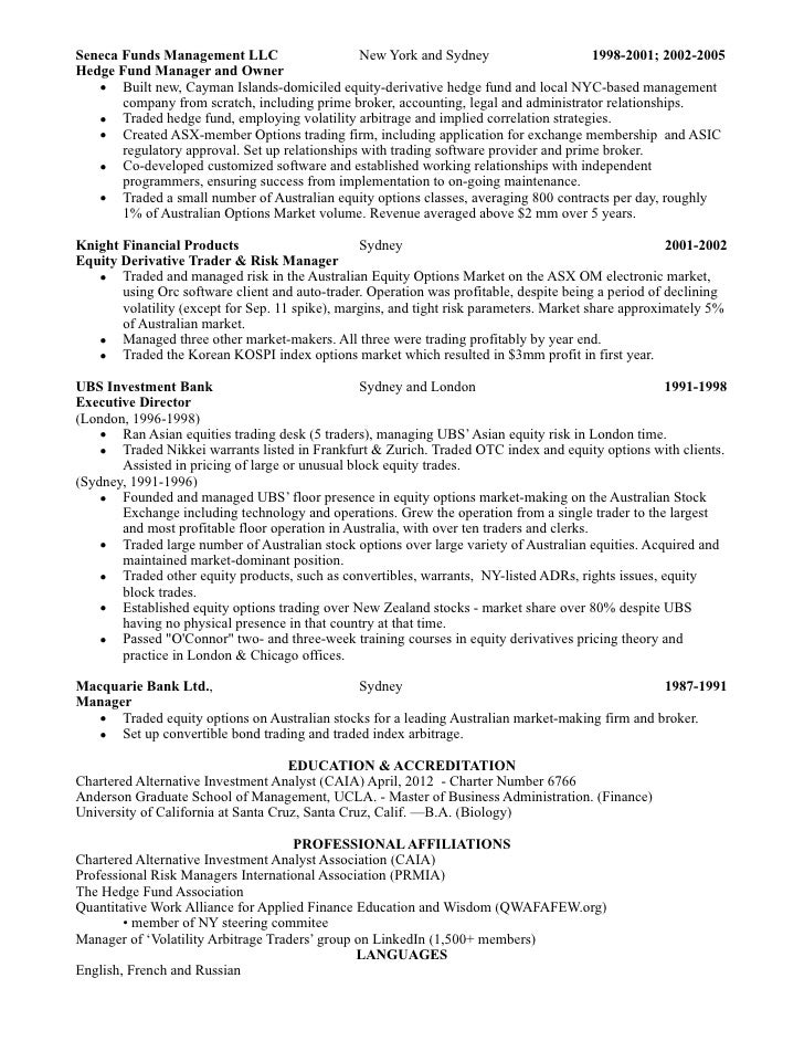 sales trading resume
