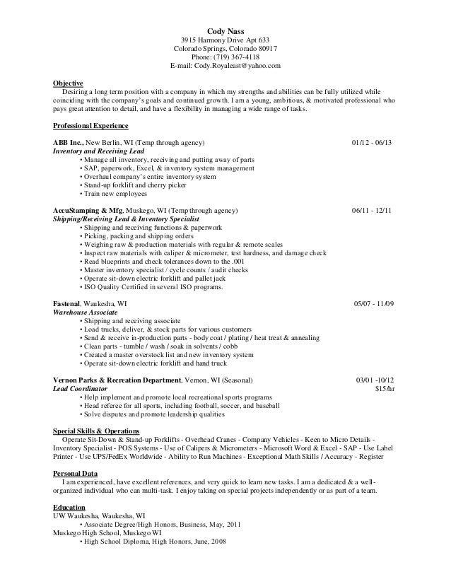 Resume 2013 inventory one