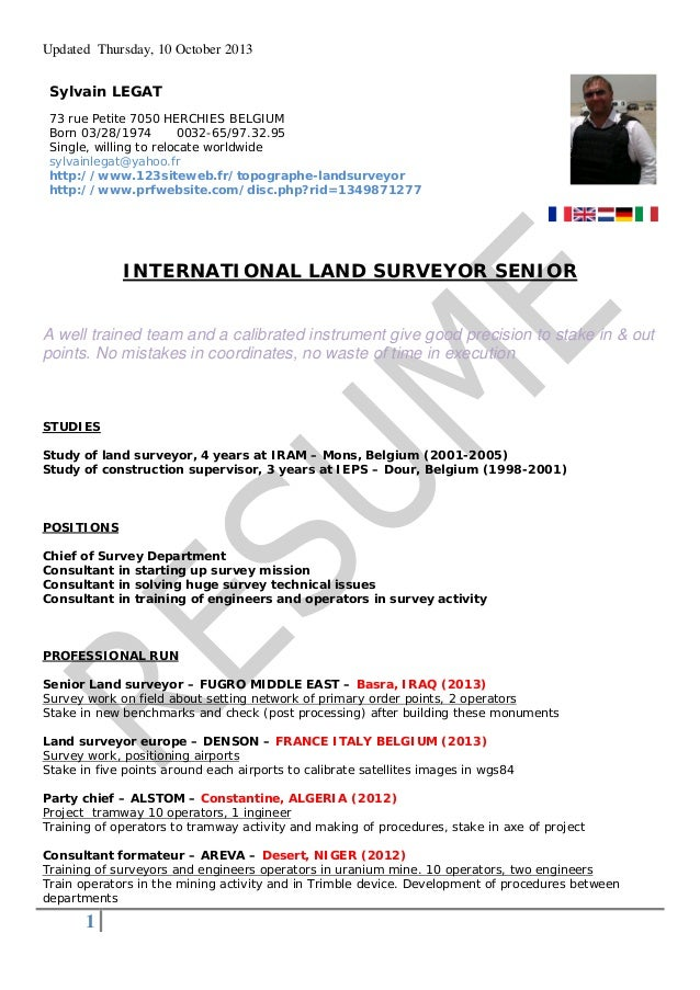land surveyor resume 2013 legat
