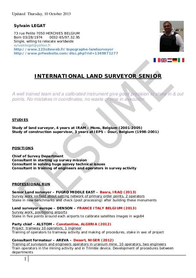 Updated Thursday, 10 October 2013 Sylvain LEGAT 73 Rue Petite 7050 HERCHIES  BELGIUM Born 03 ...