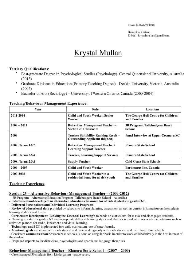 Resume 2014 Krystal Mullan