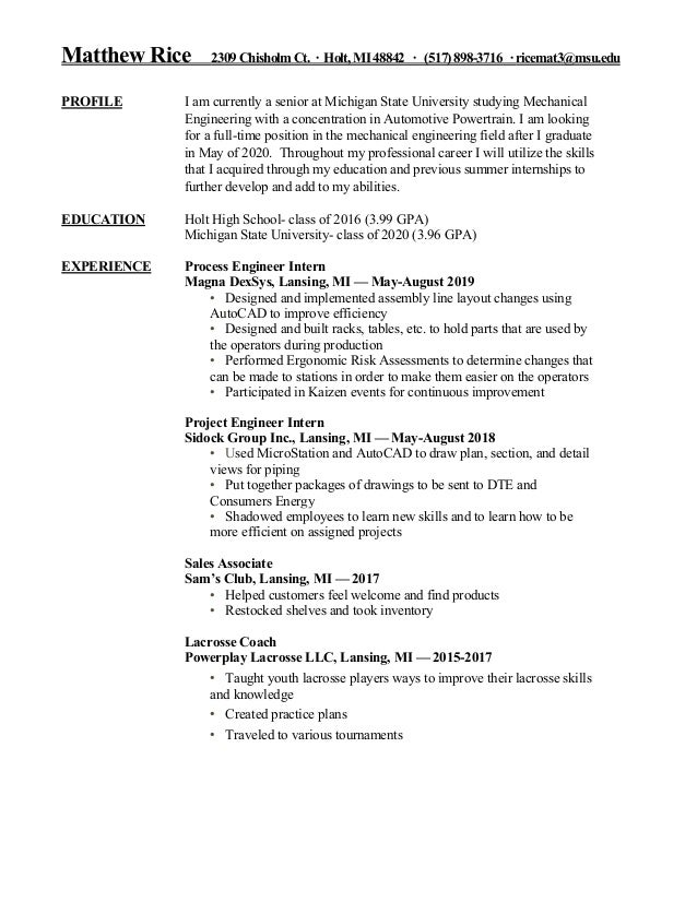 Msu Summer 2020.Matt Rice Resume