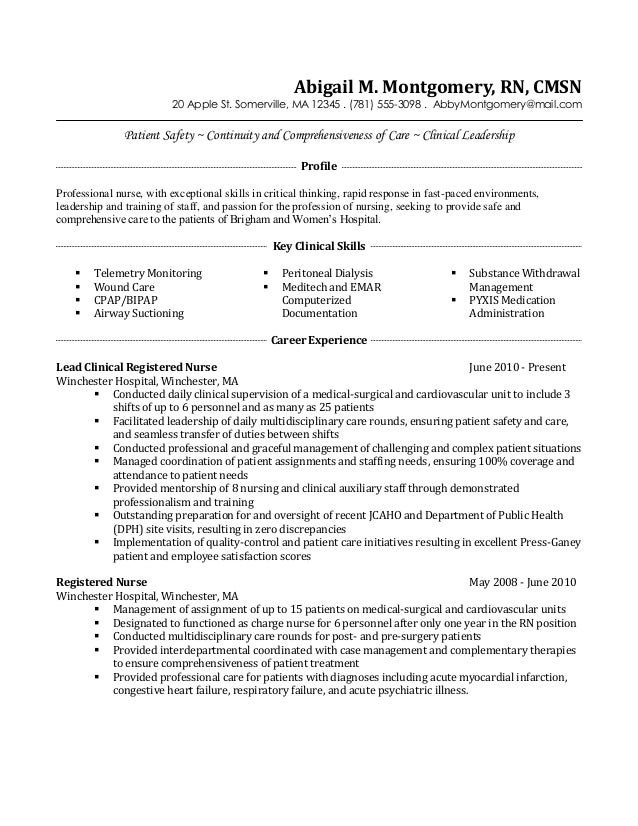 sample rn resume 1 year experience - resume format resume for medical surgical nurse