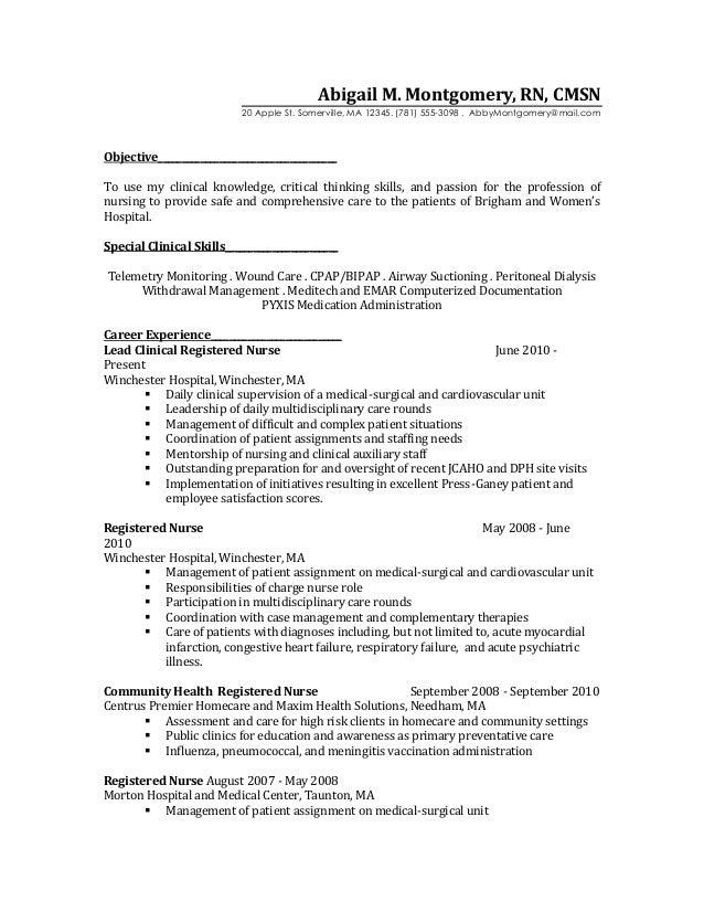 Er Charge Nurse Sample Resume