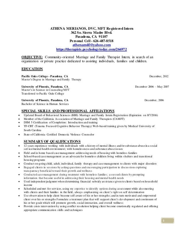 Mft Intern Resume Sample Mft Intern R Sum Pepperdine University