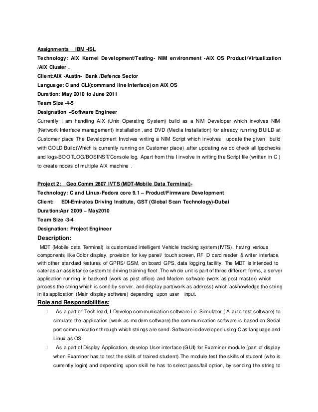 Linux kernel developer resume