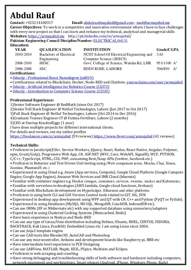 Abdul Rauf's Resume