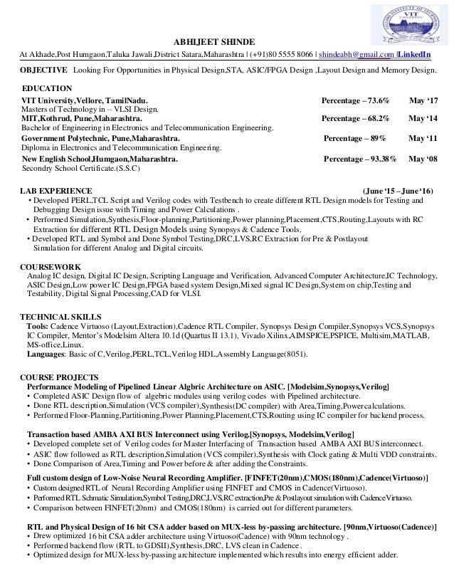 Resume Abhijeet Shinde Vit Universitymtech Vlsi