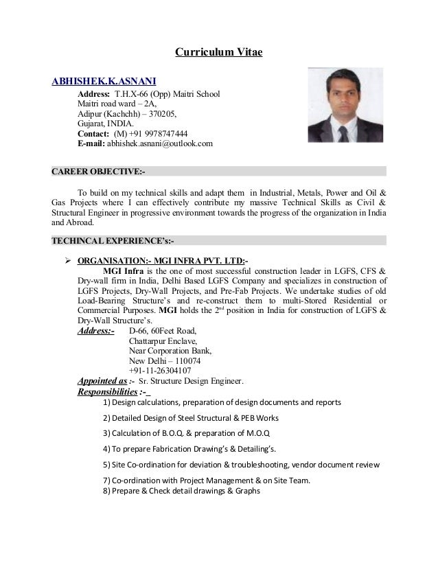 Resume Abhishek Asnani Me Structure S 5 Year S Exp