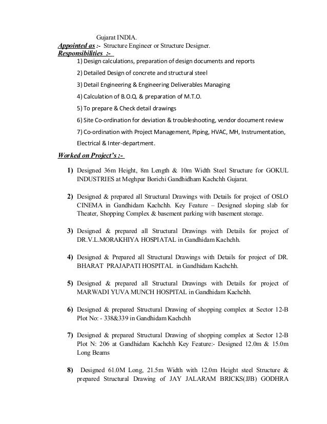 ... Gandhidam 370201 Kachchh; 3. Gujarat INDIA. Appointed As :  Structure  Engineer ...