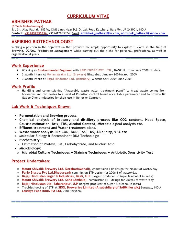 curriculum vitae abhishek pathak btech biotechnology so sh ajay microbiologist resume sample