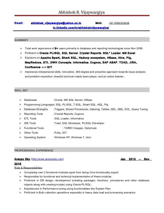 resume abhishek vijaywargiya database developer with 9 years of expe - Database Developer Resume