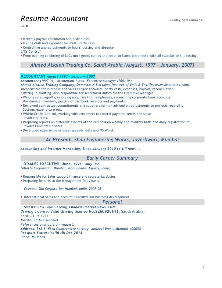 Resume Sample Resume Gulf Jobs gulf resume format accountant with experience