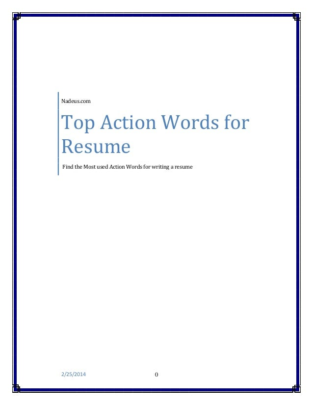nadeuscom top action words for resume find the most used action words for writing - Action Words For Resumes