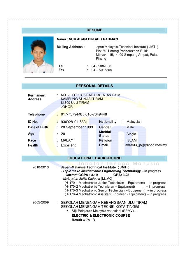 Best Resume Format Malaysia Plks Tk