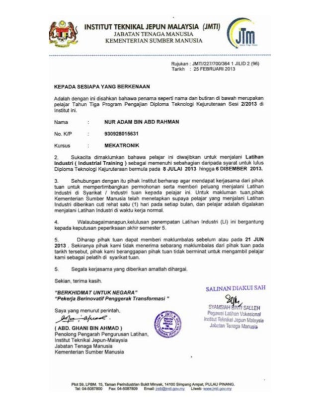 RESUME                 Nama : NUR ADAM BIN ABD RAHMAN                 Mailing Address : Japan Malaysia Technical Institute...