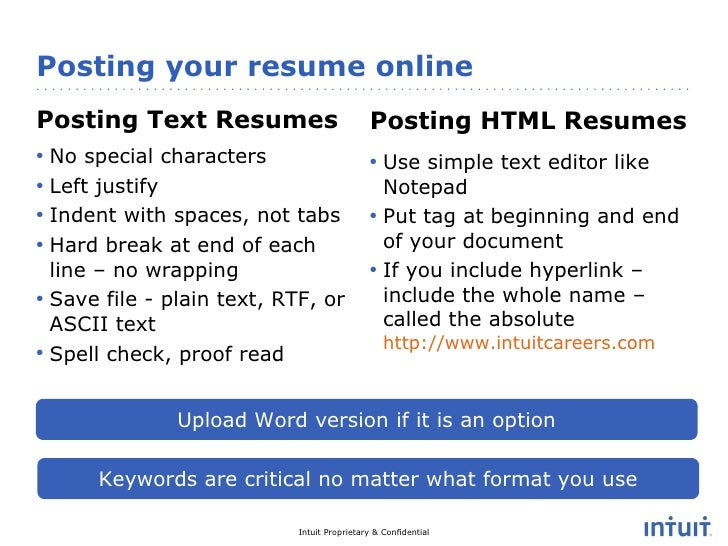 Resume advice intuit careers facebook video chat feb 2011 17 posting your resume thecheapjerseys Image collections