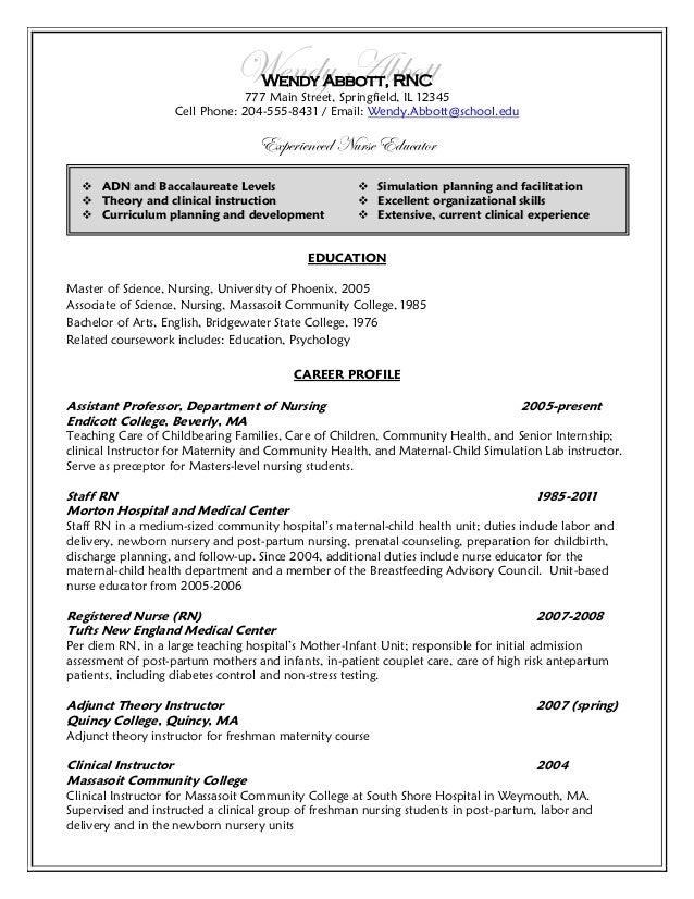 Wendy Abbott Wendy Abbott, ...  Postpartum Nurse Resume