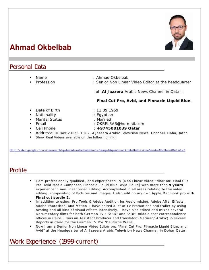 Ahmad Okbelbab  Personal Data                 Name                               : Ahmad Okbelbab                 Professi...