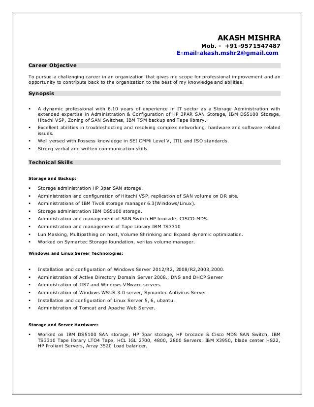 Storage Engineer Resume