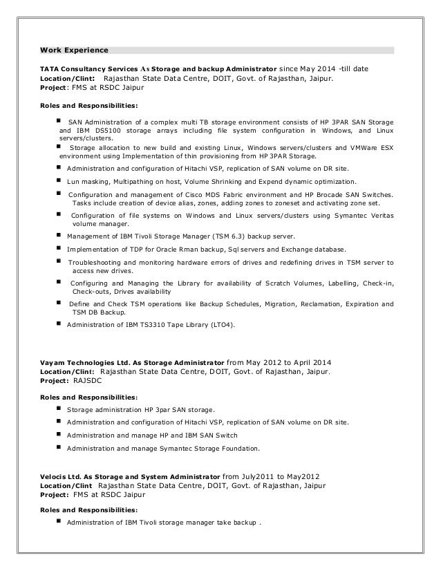 storage administrator resume