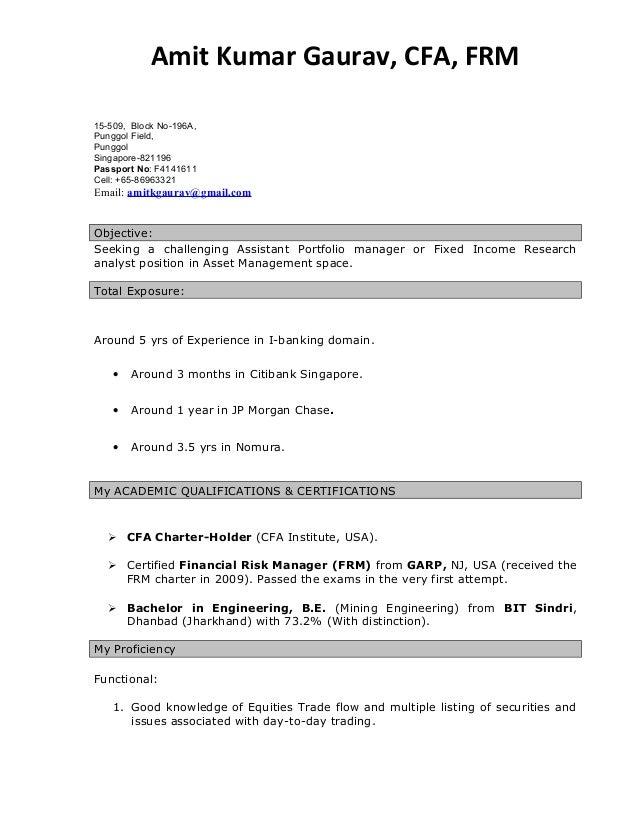 Amit Kumar Gaurav, CFA, FRM 15-509, Block No-196A, ...