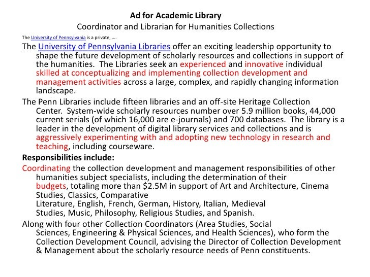 librarian cover letter - Academic Librarian Cover Letter