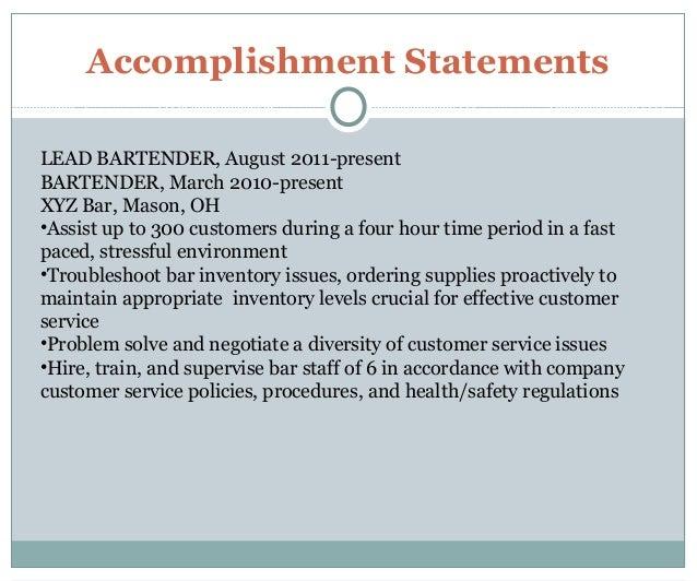 ... 9. Accomplishment Statements LEAD BARTENDER ...
