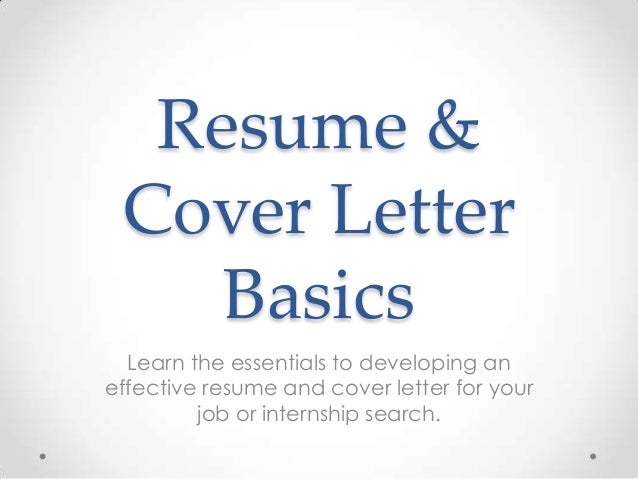 Career Development Workshop: Resume And Cover Letter Basics