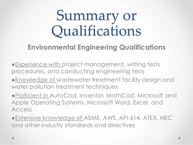 14 summary or qualifications environmental engineering - Environmental Engineering Cover Letter