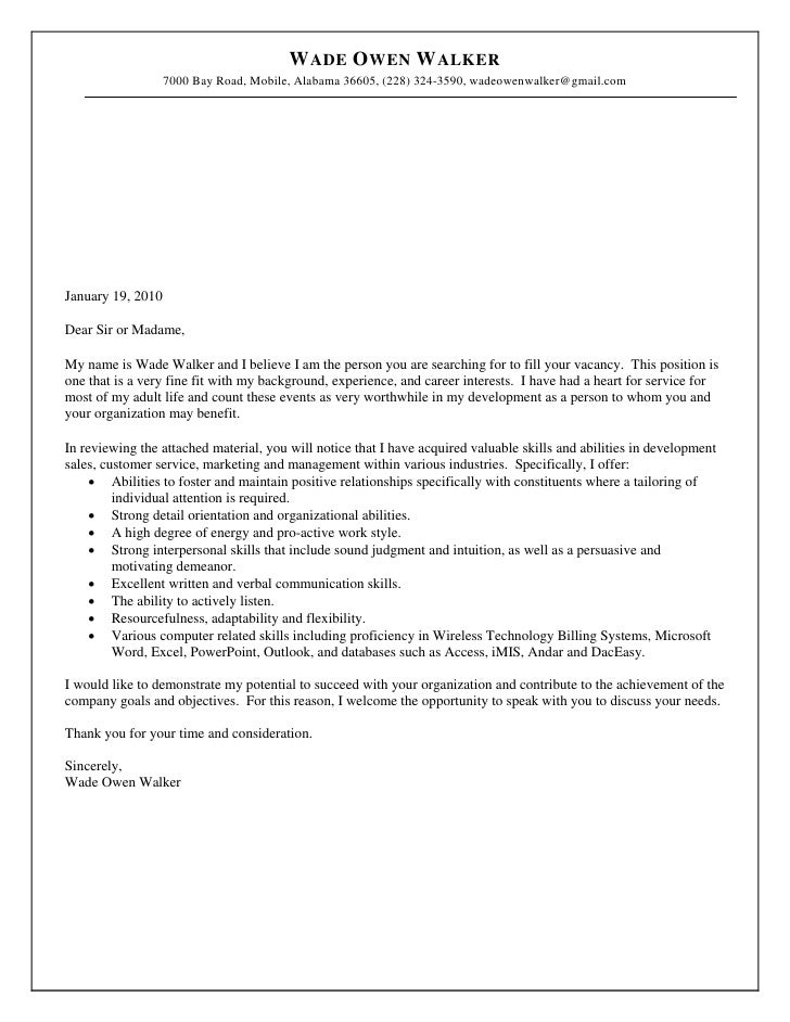 Resume and cover letter for wade walker 2010