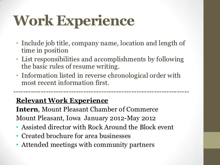 Work Experience ...  Job Experience On Resume