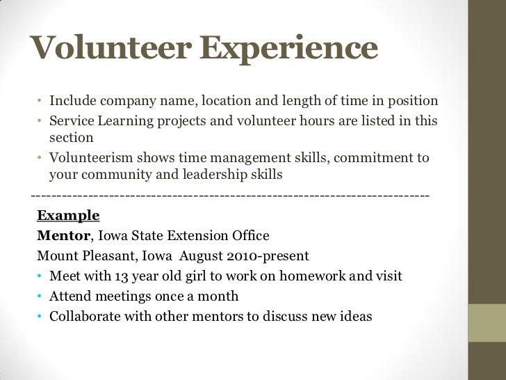 volunteer experiences on resumes