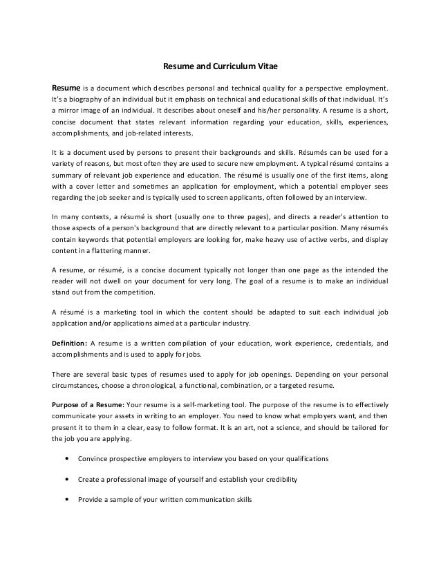 resume and curriculum vitae resume is a document which describes personal and technical quality for a - Typical Curriculum Vitae