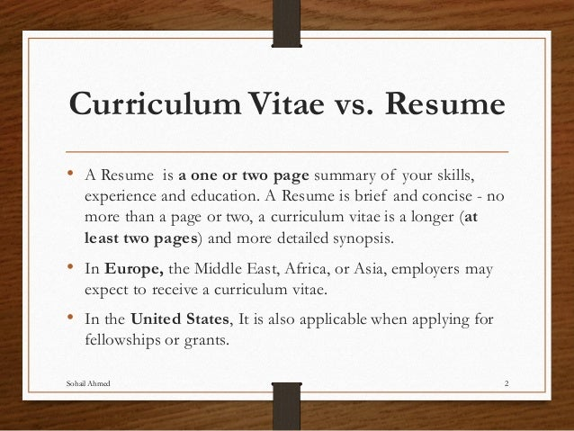Curriculum Vitae Vs.  What Is A Cv Resume