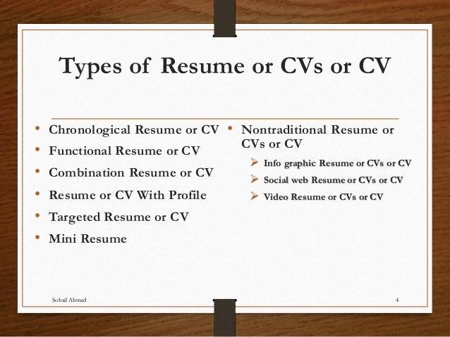 Sohail Ahmed 3; 4. Types Of Resume ...  Cv And Resume
