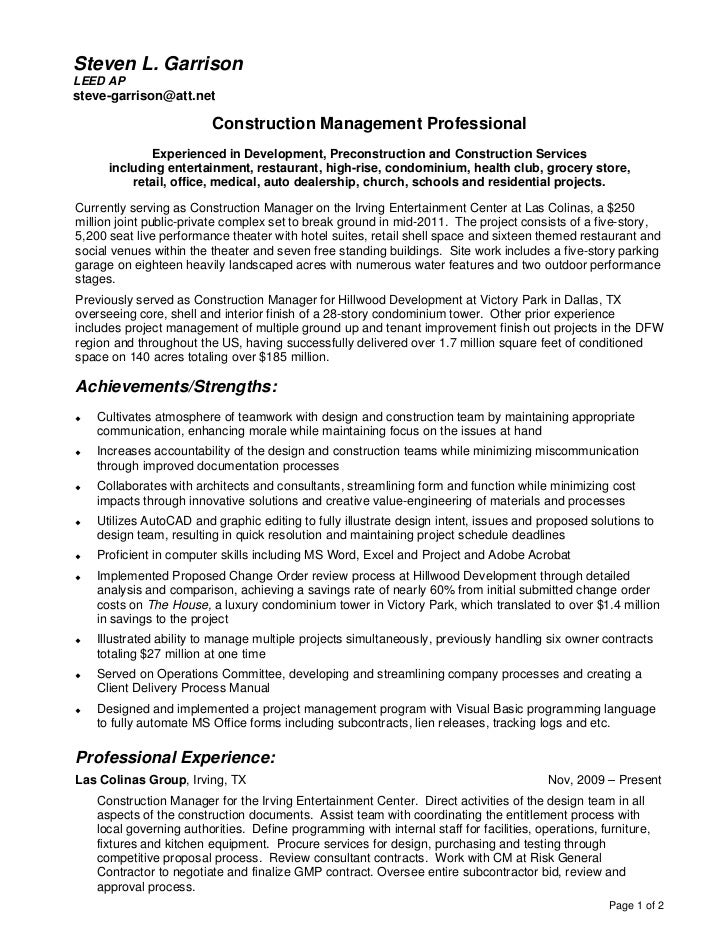 Resume And Detailed Project History