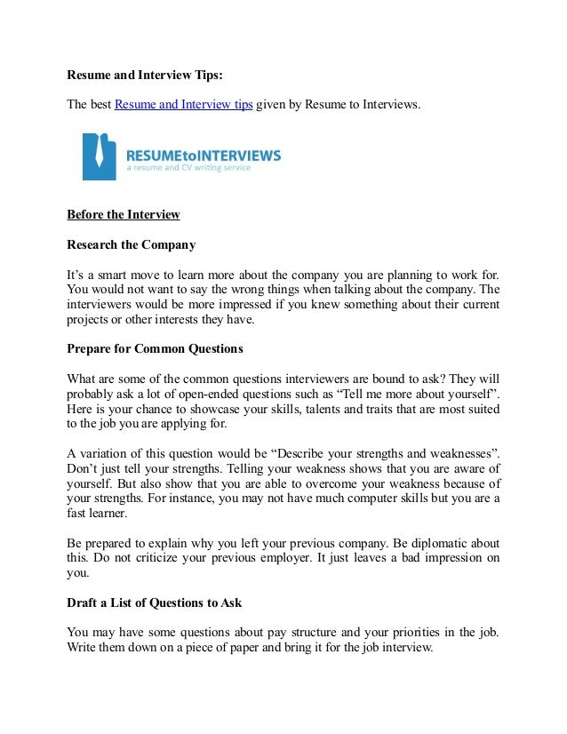 Good Resume And Interview Tips: The Best Resume And Interview Tips Given By  Resume To Interviews ... In Resume To Interviews