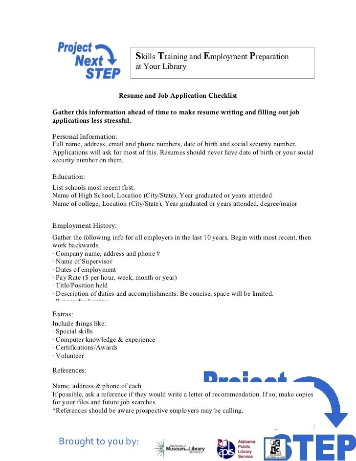 Resume And Job Application Checklist